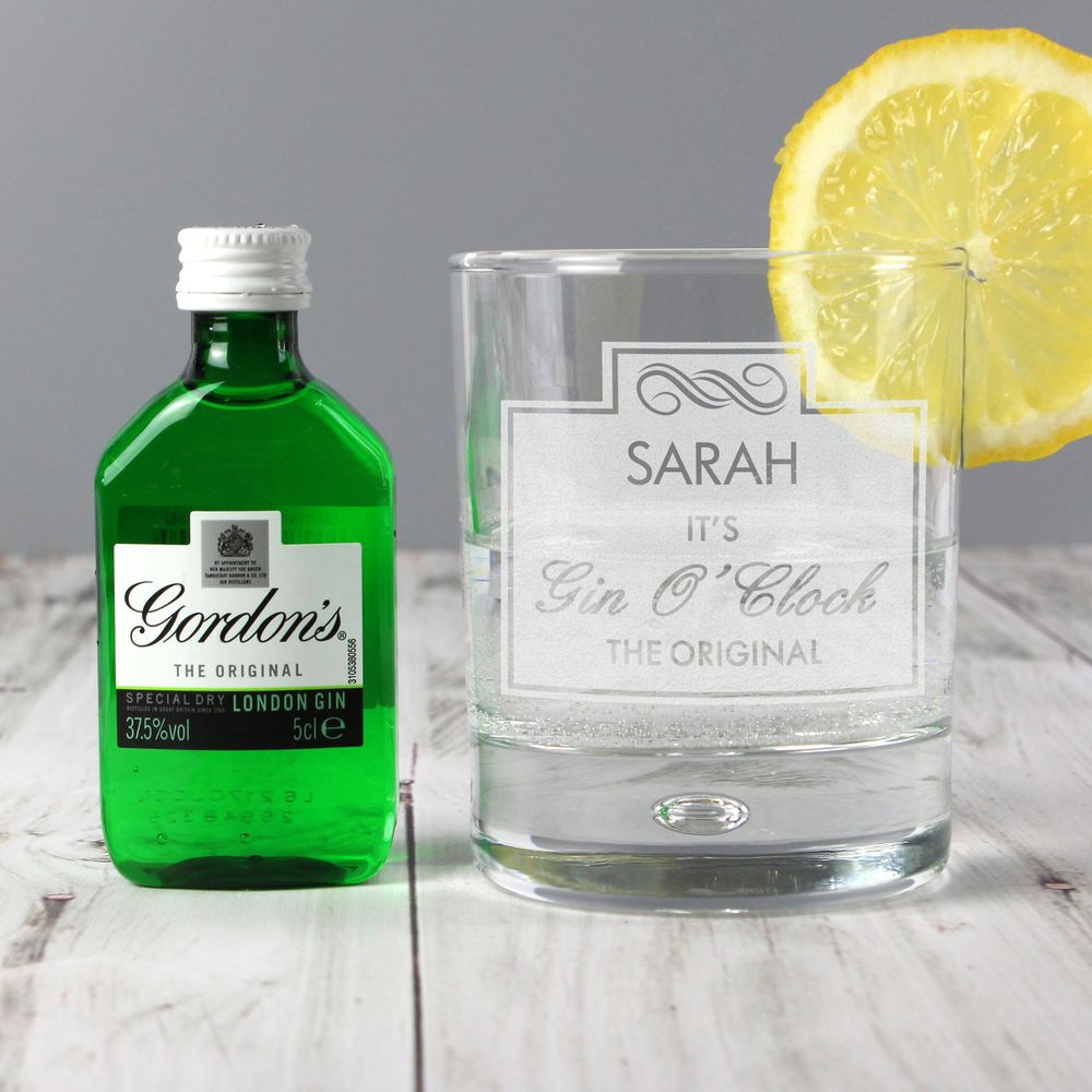 It's Gin O'Clock Glass & Miniature Gordons Gin