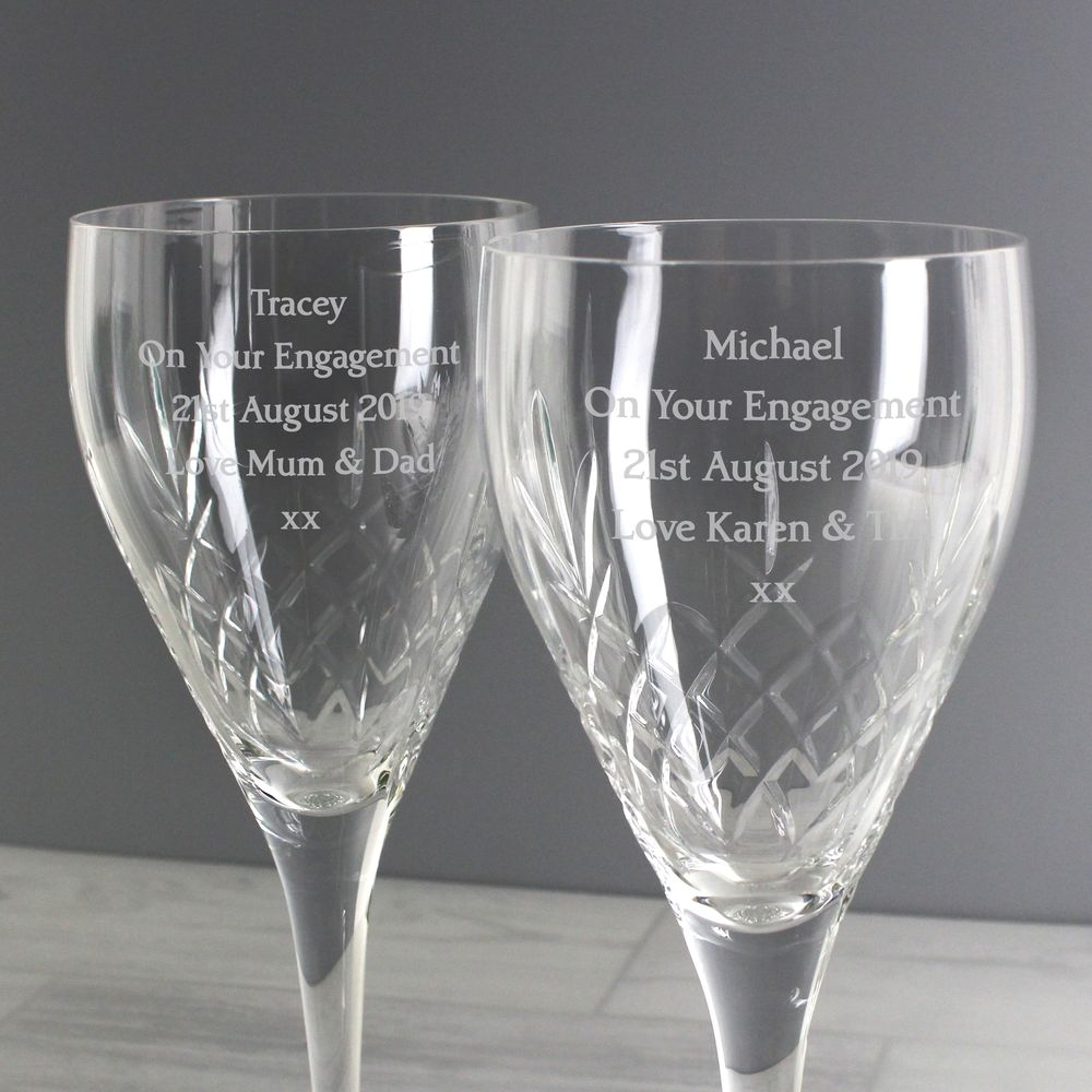 Engraved Crystal Wine Glasses - With Gift Box