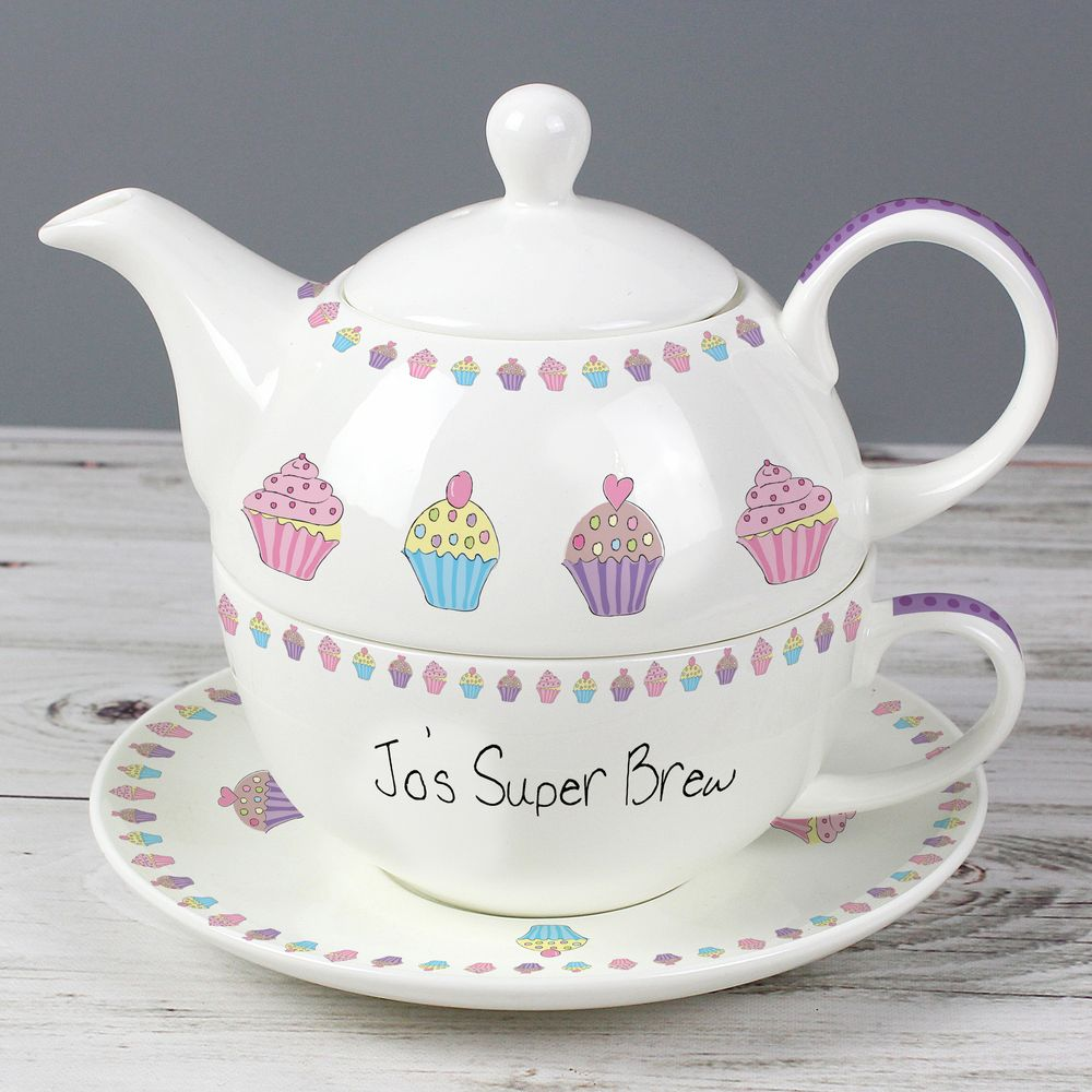 Personalised Cupcake Design Tea Giftset For One