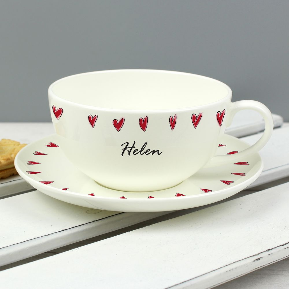 Custom Hearts Tea Cup and Saucer