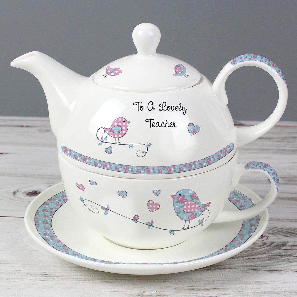 Personalised Vintage Birds Teapot, Mug & Saucer For One