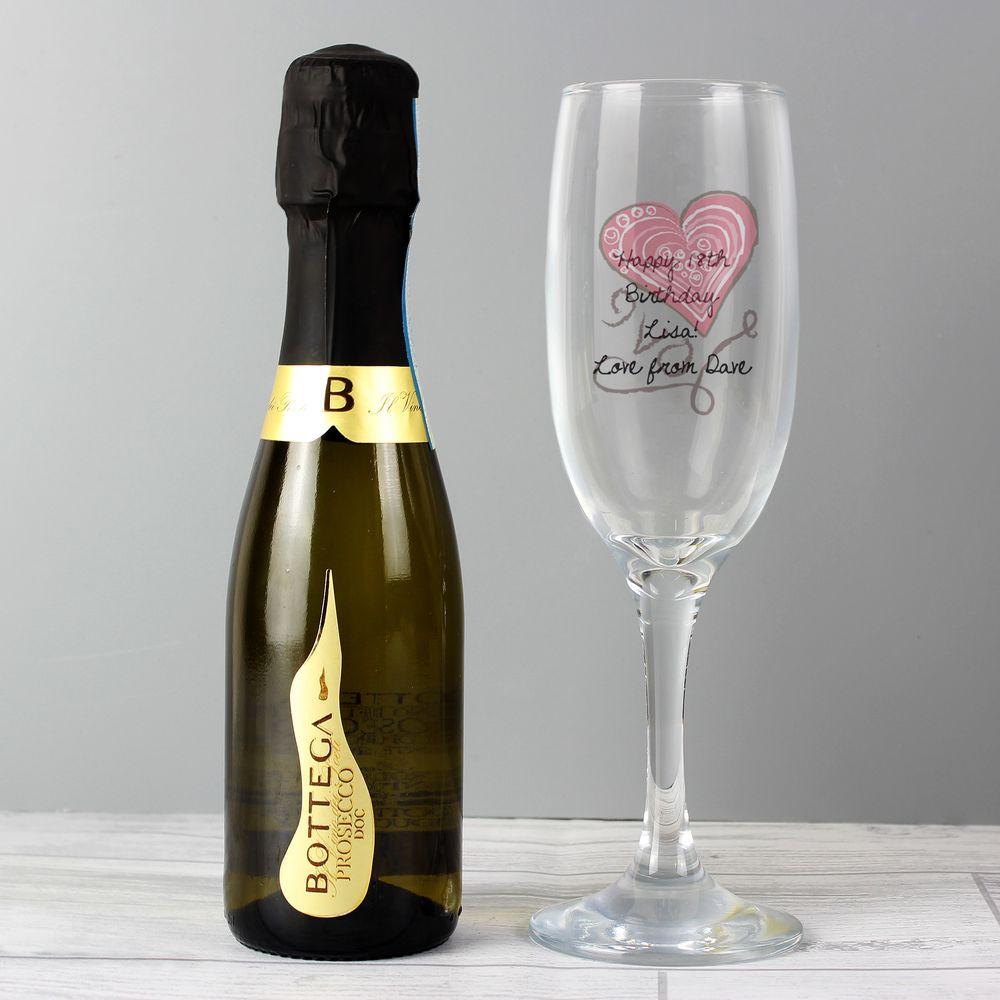Mini Champagne & Personalised Glass