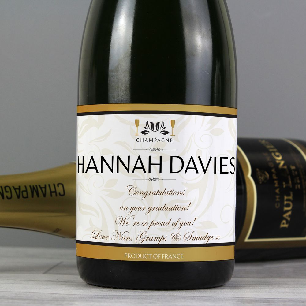 Personalised Champagne - White & Gold