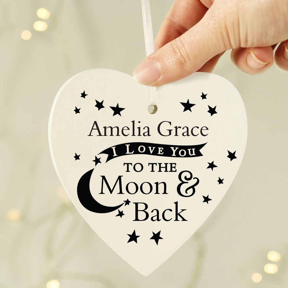 I Love You To The Moon Wooden Heart