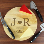 Personalised Monogram Cheeseboard with 3 Cheese Knives