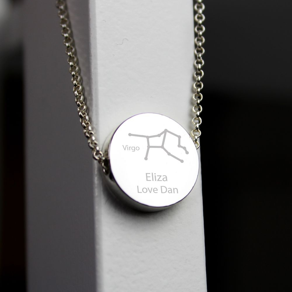 Personalised Virgo Zodiac Star Sign Silver Tone Necklace August 23rd September 22nd Friends Gifts For