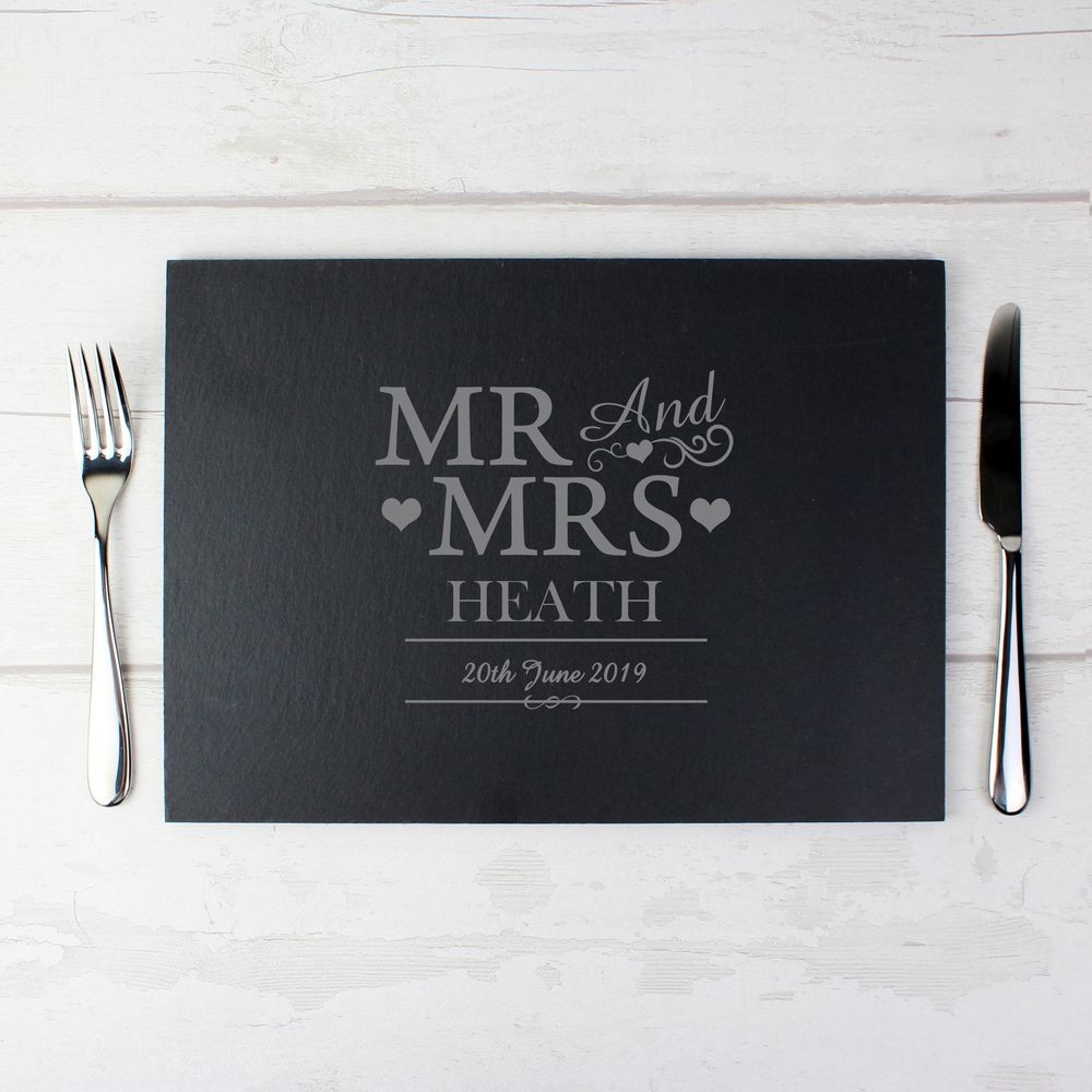 Personalised Mr And Mrs Slate Board
