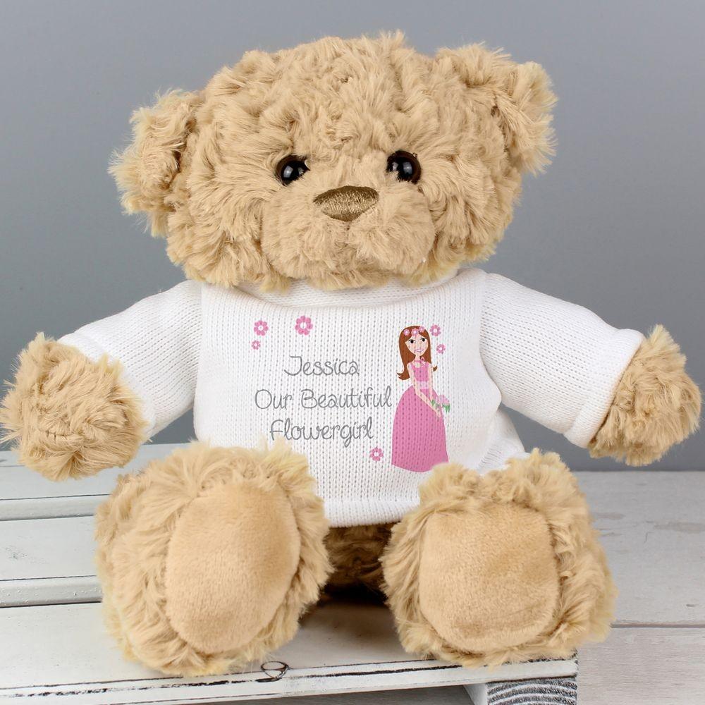 Personalised Fabulous Flower Girl Message Bear Teddy