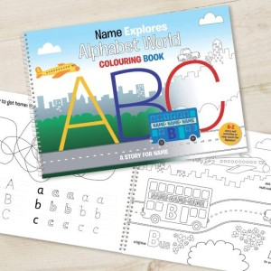 Alphabet World Personalised Colouring Book - A4