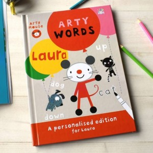 Personalised Arty Mouse Learning Words Activity Book - Hardback