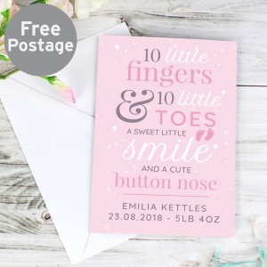 "Personalised ""10 Little Fingers"" Pink Baby Card"