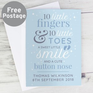 "Personalised ""10 Little Fingers"" Blue Baby Card"