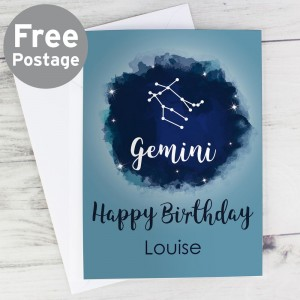 Personalised Gemini Zodiac Star Sign Card (May 21st - June 20th)