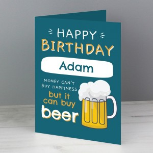 Personalised Happy Birthday Beer Card