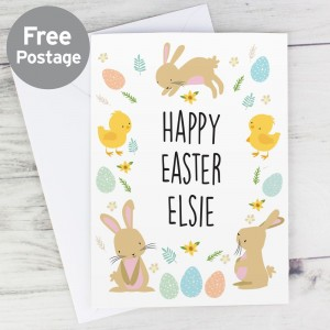 Personalised Easter Bunny & Chick Card