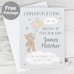 Personalised Teddy & Balloons Card