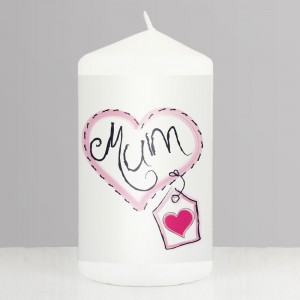Mum Heart Stitch Pillar Candle