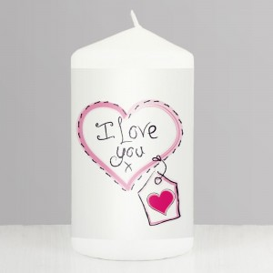 Heart Stitch - I Love You Pillar Candle
