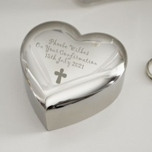 Personalised Cross Heart Trinket Box