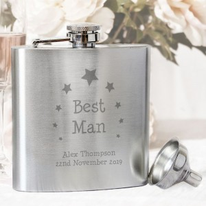 Personalised Stars Best Man Hip Flask