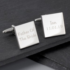 Personalised Wedding Role Square Cufflinks - 2 line