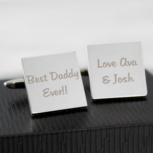 Personalised Any Message Square Cufflinks - 2 lines