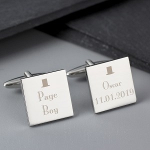 Personalised Decorative Wedding Page Boy Cufflinks