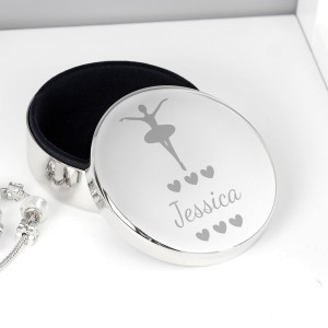 Personalised Ballerina Round Trinket Box
