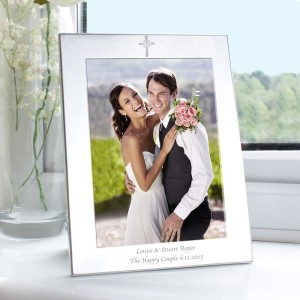 Personalised Silver 5x7 Cross Photo Frame