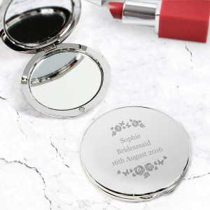 Personalised Vintage Rose Compact Mirror