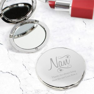 Personalised Nan Swirls & Hearts Compact Mirror