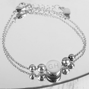 Personalised Silver Plated Initials Disc Bracelet