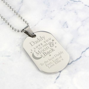 "Personalised ""To The Moon & Back..."" Stainless Steel Dog Tag Necklace"