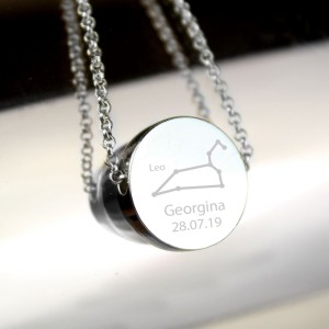 Personalised Leo Zodiac Star Sign Silver Tone Necklace (July 23rd - August 22nd)