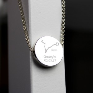Personalised Pisces Zodiac Star Sign Silver Tone Necklace (February 19th - March 20th)