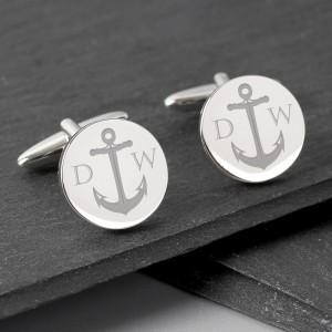 Personalised Anchor Round Cufflinks