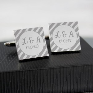 Personalised Stripes Square Cufflinks
