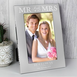 Personalised Mr & Mrs 4x6 Silver Photo Frame