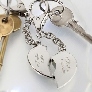 Personalised Any Message Two Hearts Keyring
