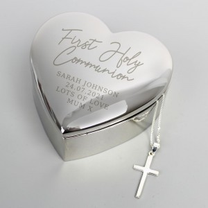 Personalised First Holy Communion Heart Trinket Box & Cross Necklace Set