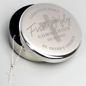 Personalised First Holy Communion Round Trinket Box & Cross Necklace Set