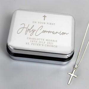 Personalised First Holy Communion Box & Cross Necklace Set