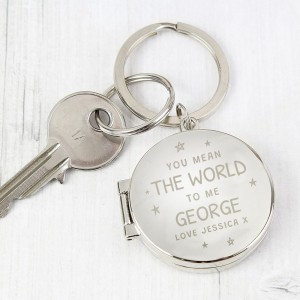 Personalised You Mean The World To Me Round Photo keyring