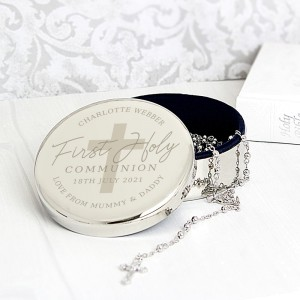 Personalised First Holy Communion Round Trinket Box & Rosary Beads Set