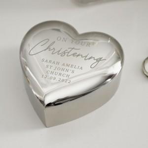 Personalised Christening Heart Trinket Box