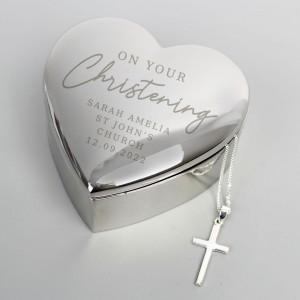 Personalised Christening Heart Trinket Box & Cross Necklace Set