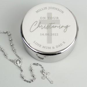 Personalised Christening Round Trinket Box & Rosary Beads Set