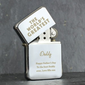 "Personalised ""The World's Greatest"" Silver Lighter"