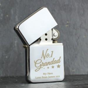 Personalised No.1 Grandad Silver Lighter