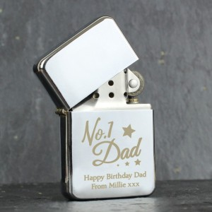 Personalised No.1 Dad Silver Lighter